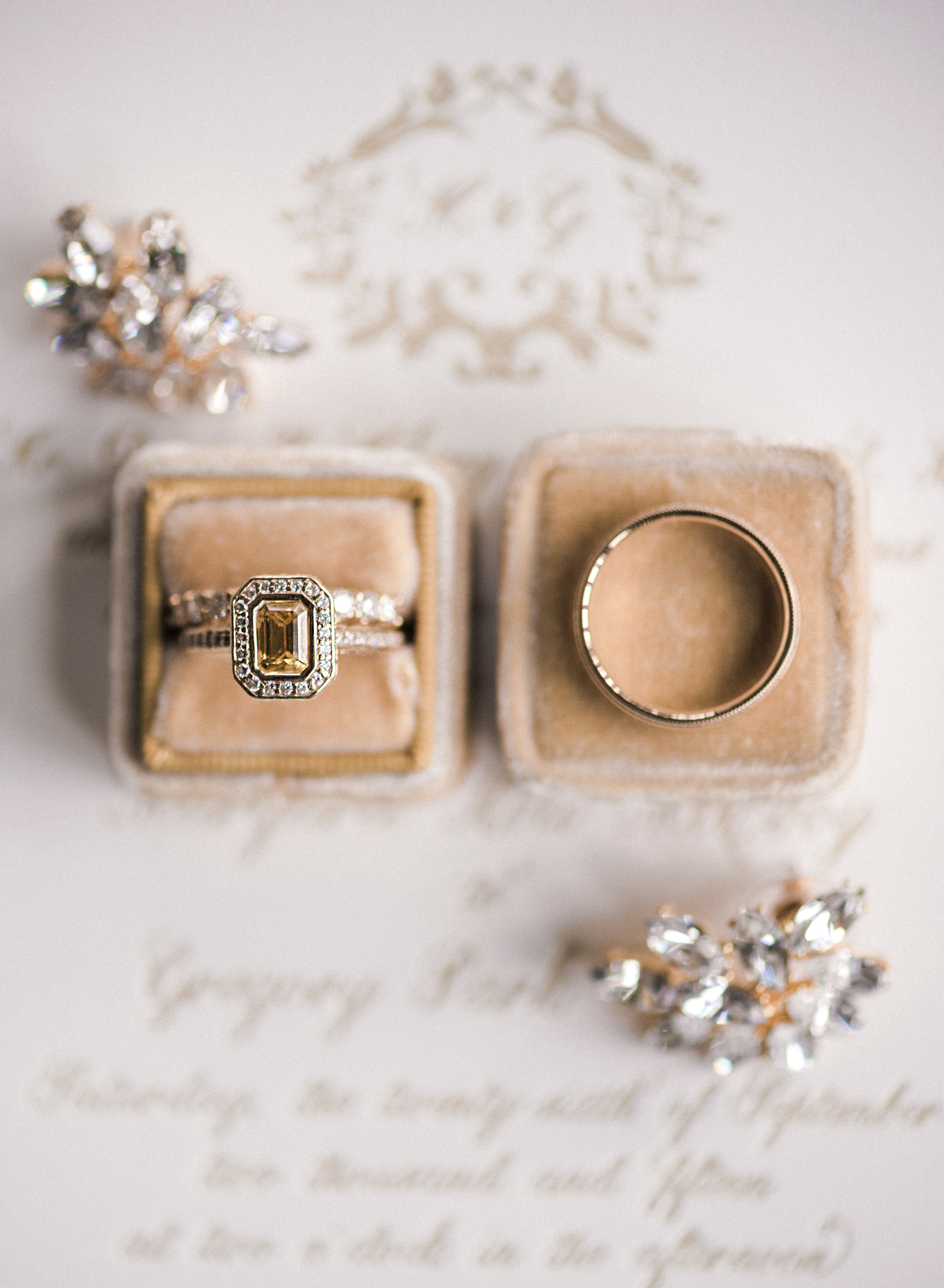engagement rings yellow emerald cut stone