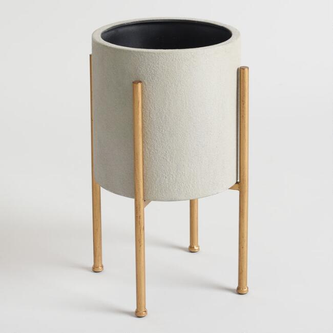 modern planter with wooden legs