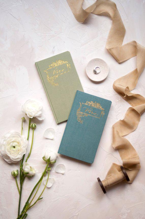 vow books gold foil press header linen cover