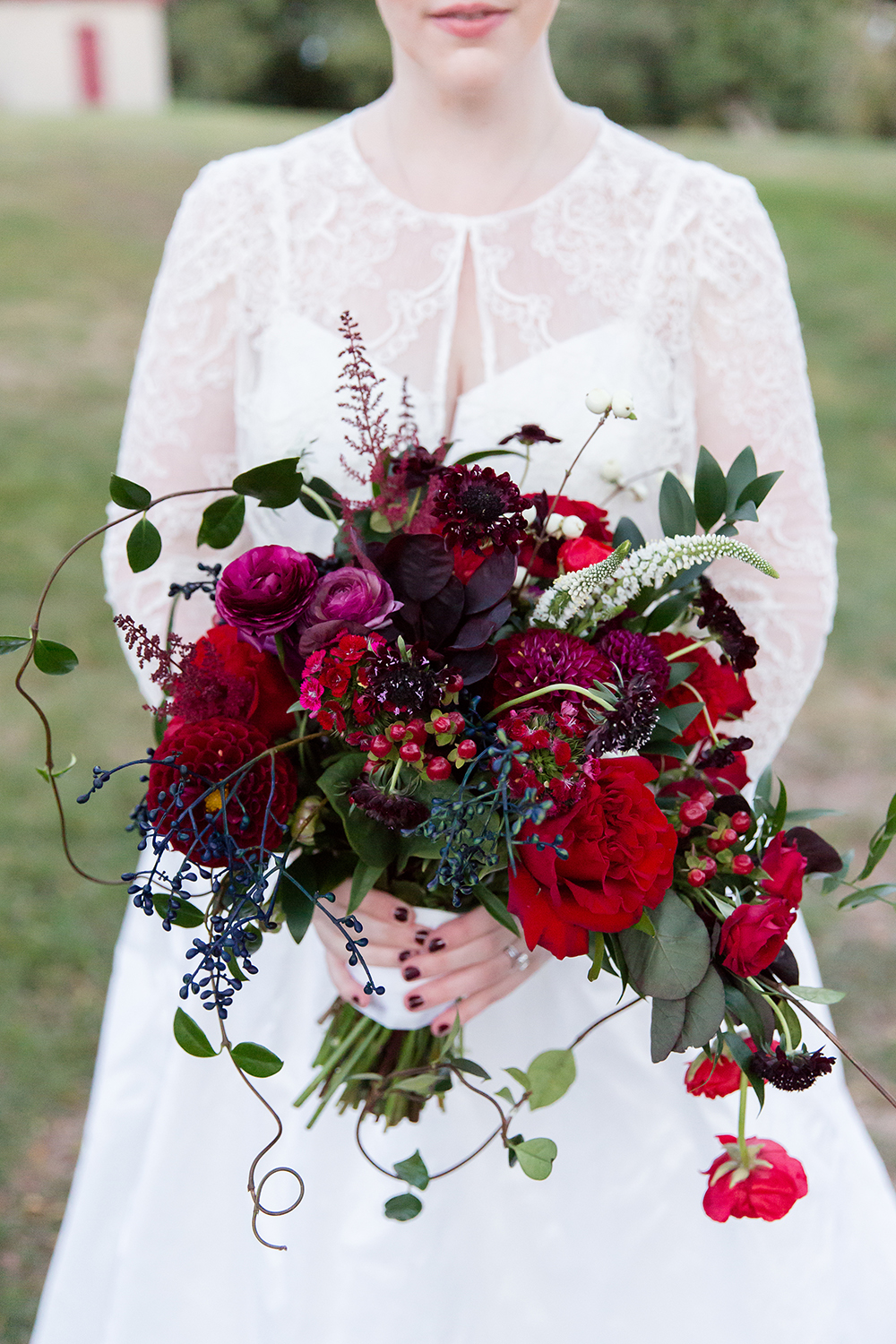 monochromatic bouquet deep red flowers
