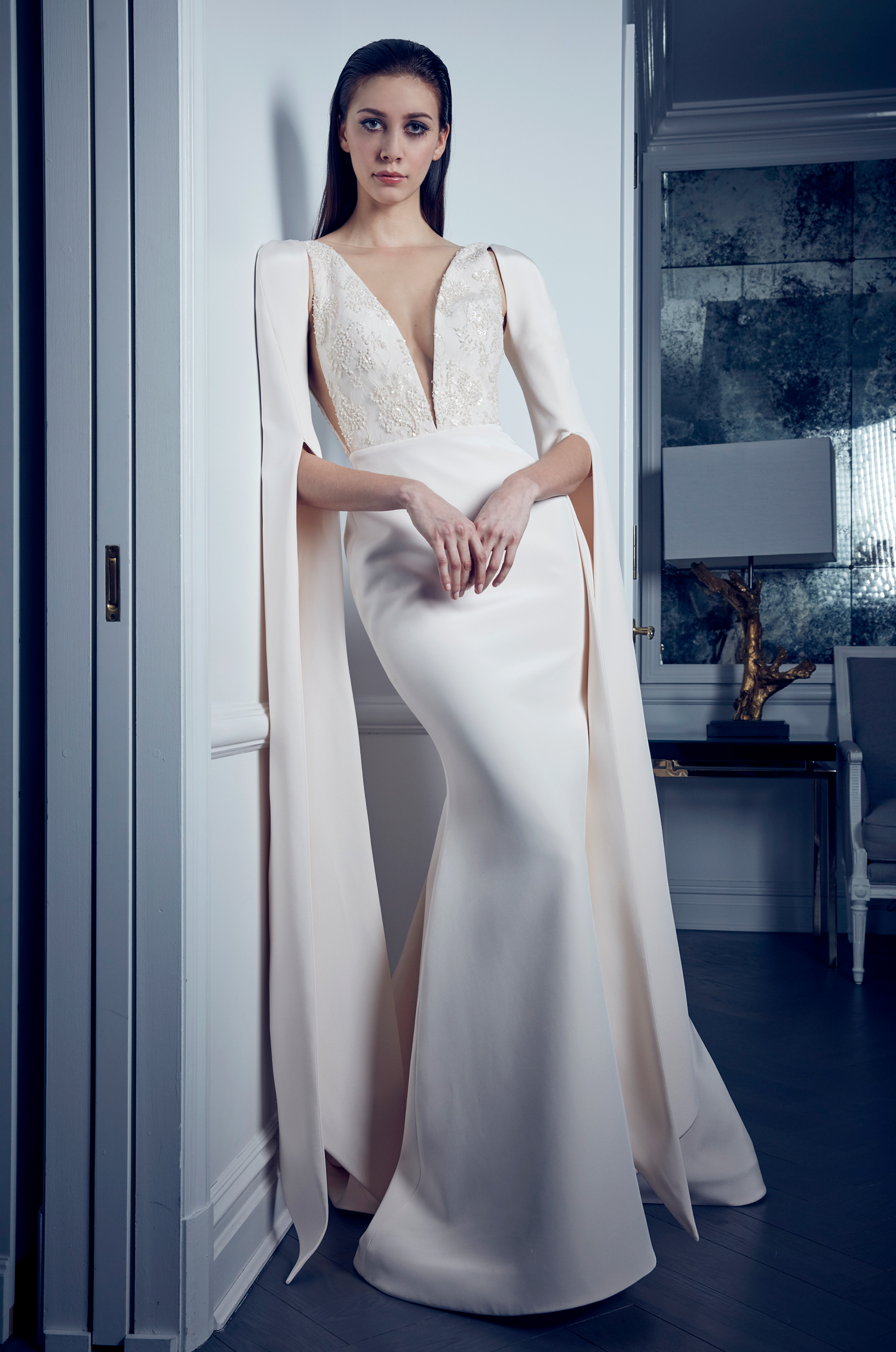 long sleeve plunging v-neck romona keveza collection spring 2020