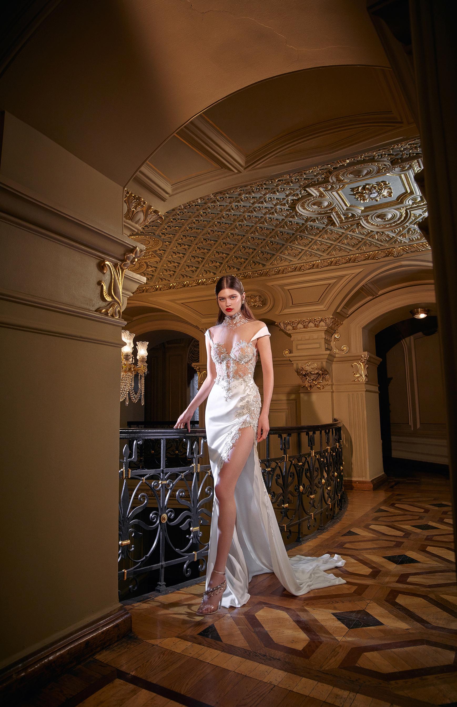 galia lahav high slit sheath jeweled wedding dress spring 2020