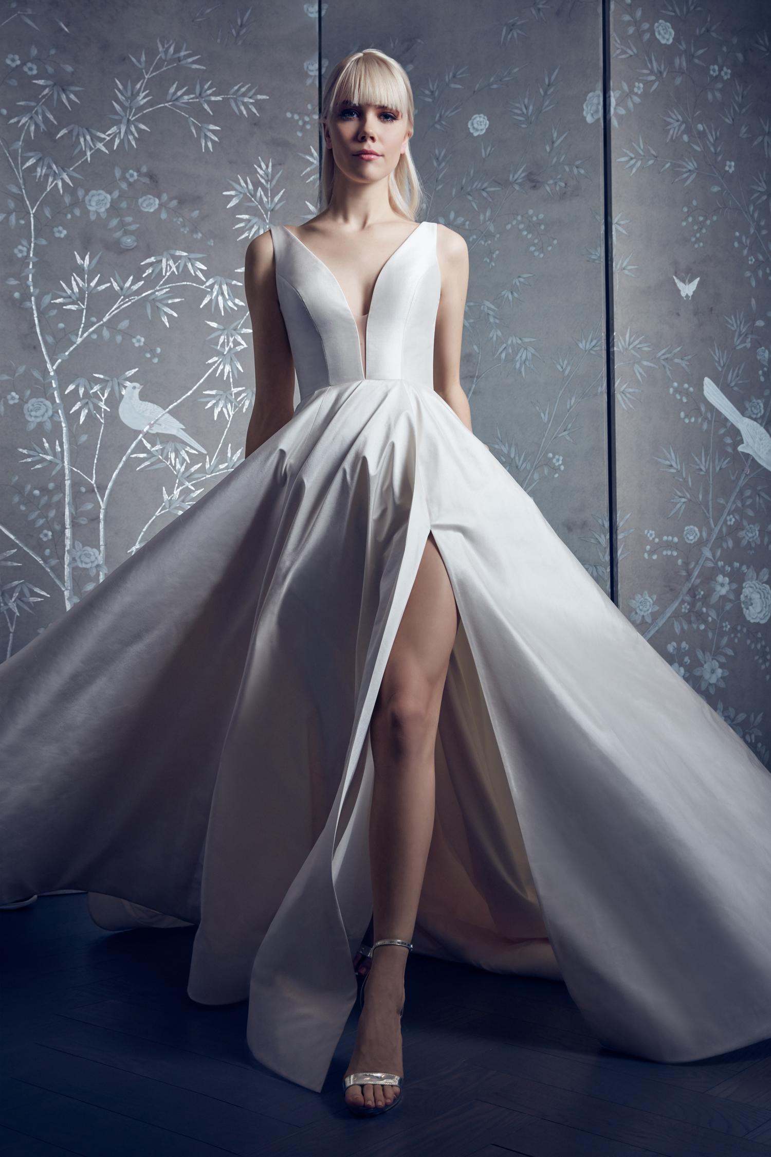legends romona keveza plunging neckline ballgown wedding dress with leg slit spring 2020