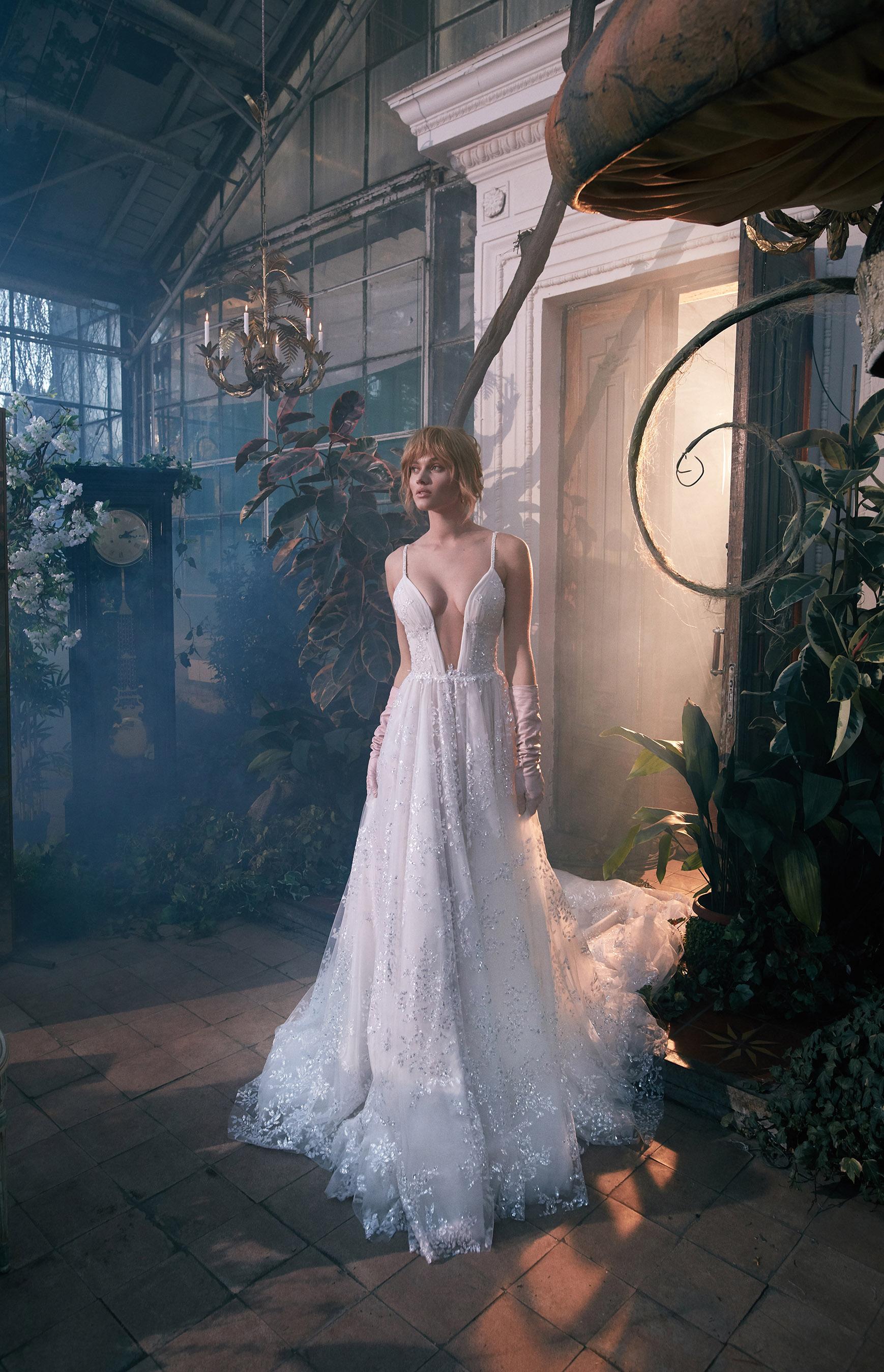 spaghetti strap plunging v-neck glitter beading lace train a-line wedding dress Gala by Galia Lahav Spring 2020