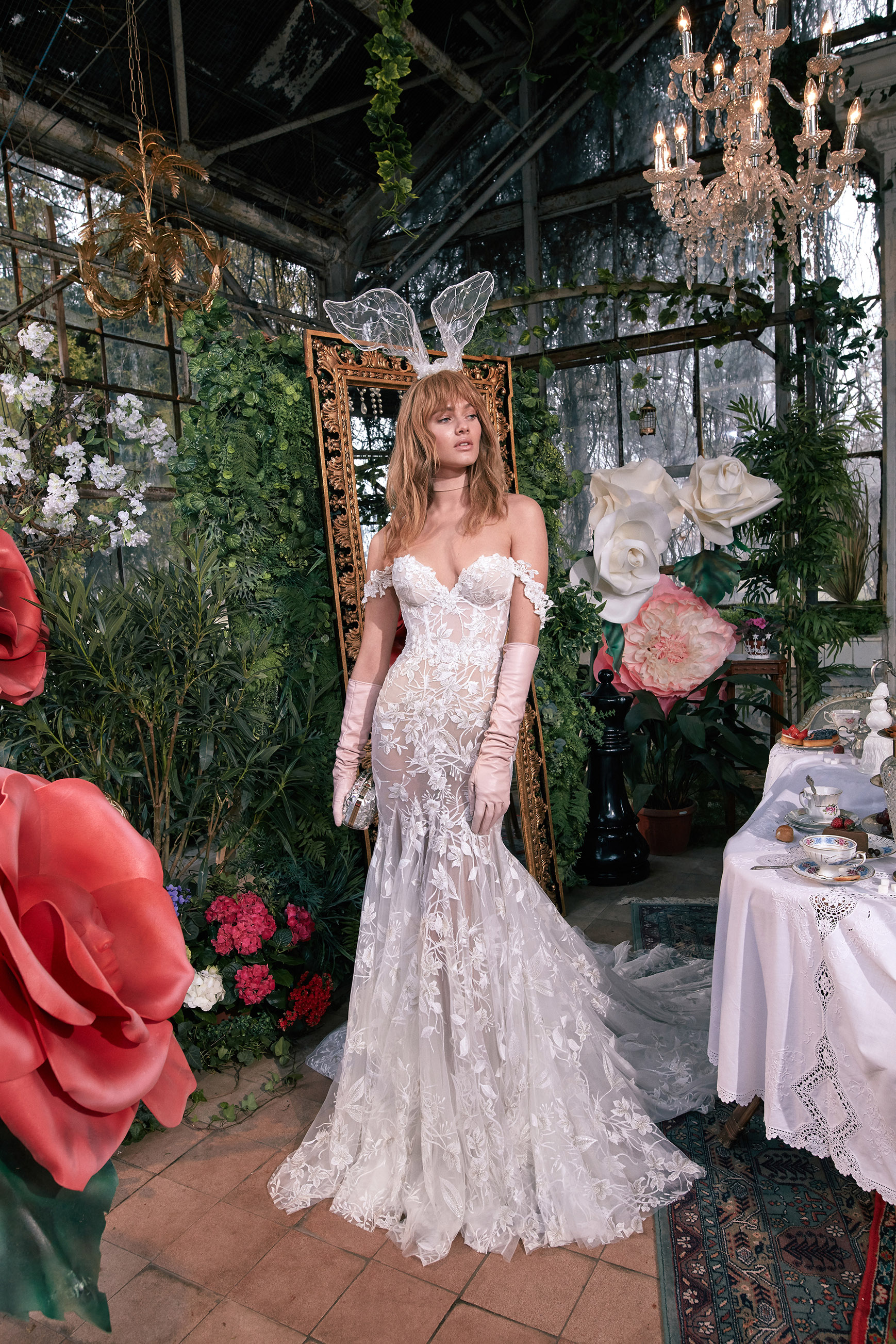 off-the-shoulder sweetheart exposed boning sheer lace trumpet wedding dress Gala by Galia Lahav Spring 2020