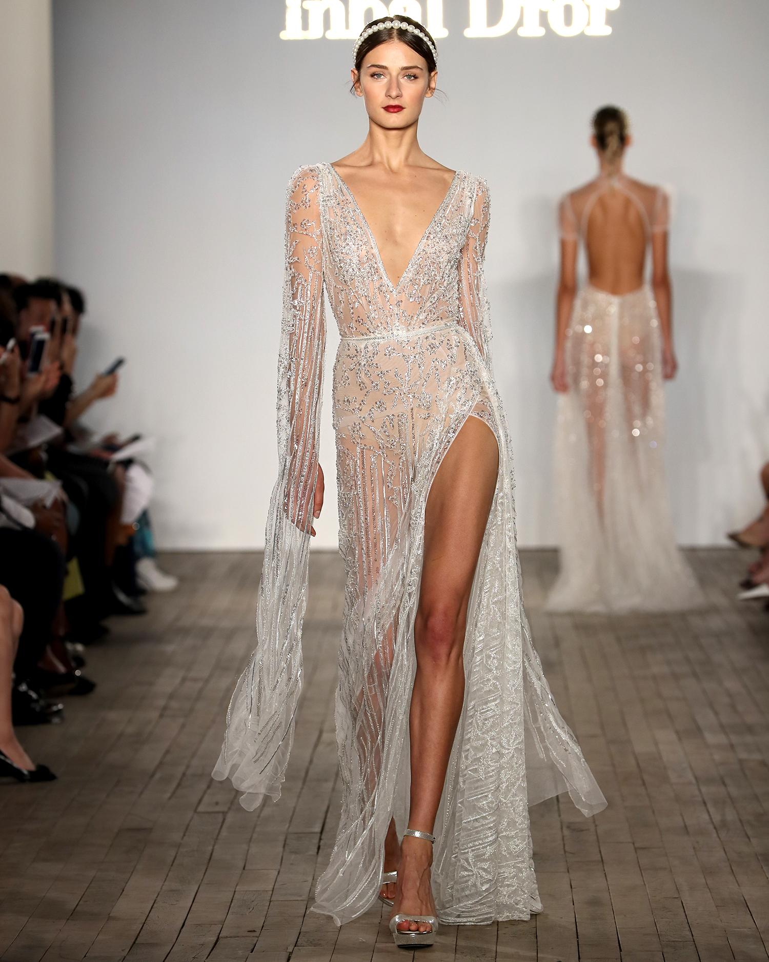 inbal dror wedding dress sheer beaded sheath with high slit