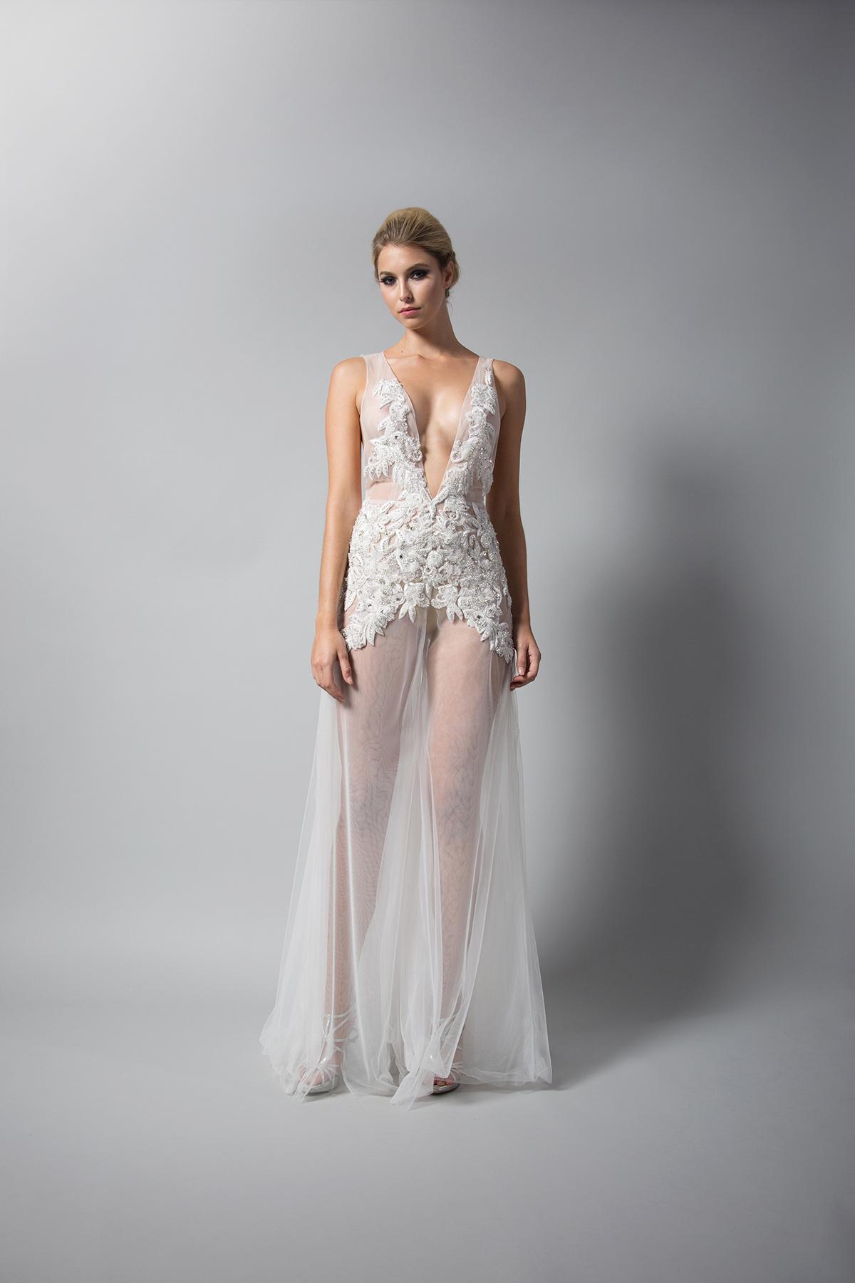 randi rahm tule sheath dress with straps fall 2018