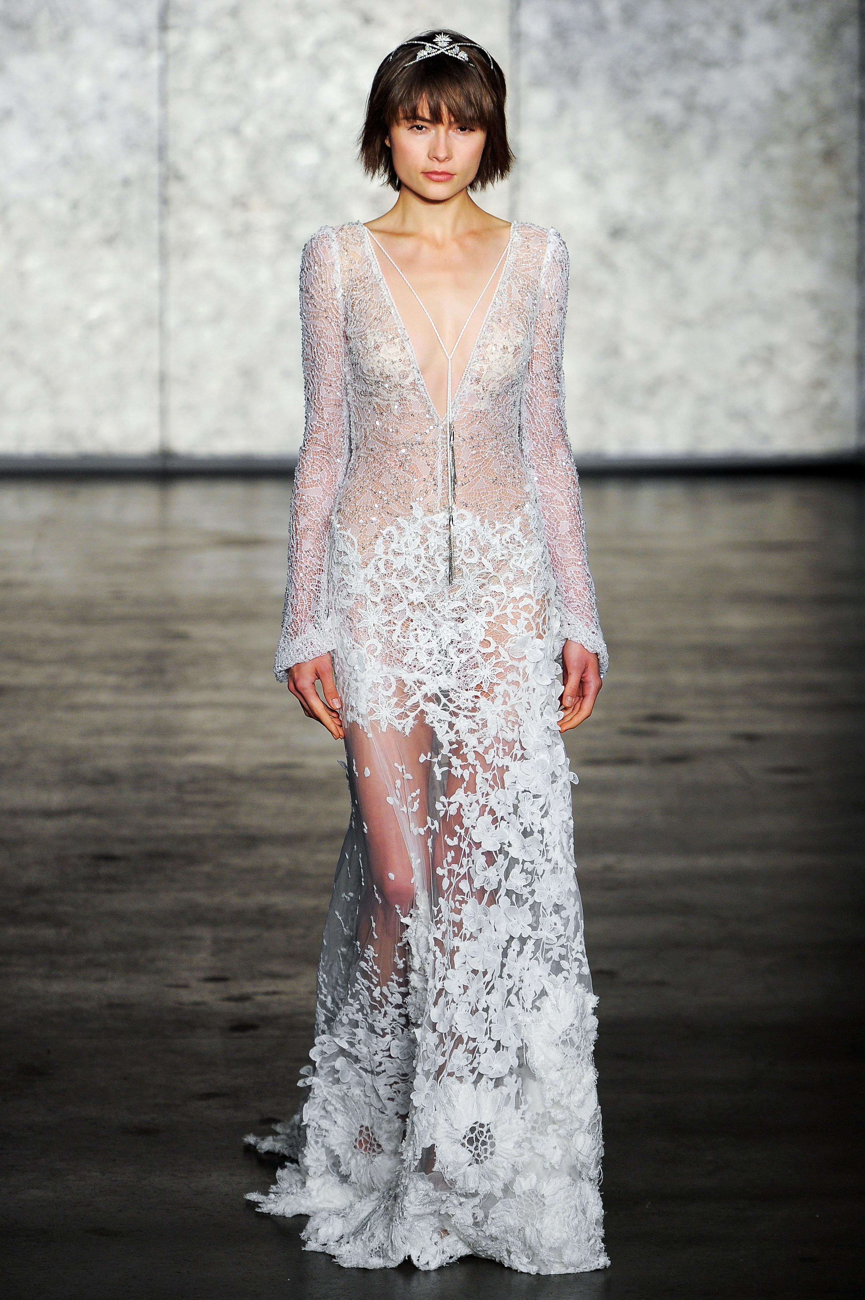 inbal dror wedding dress fall 2018 embellished deep v long sleeves