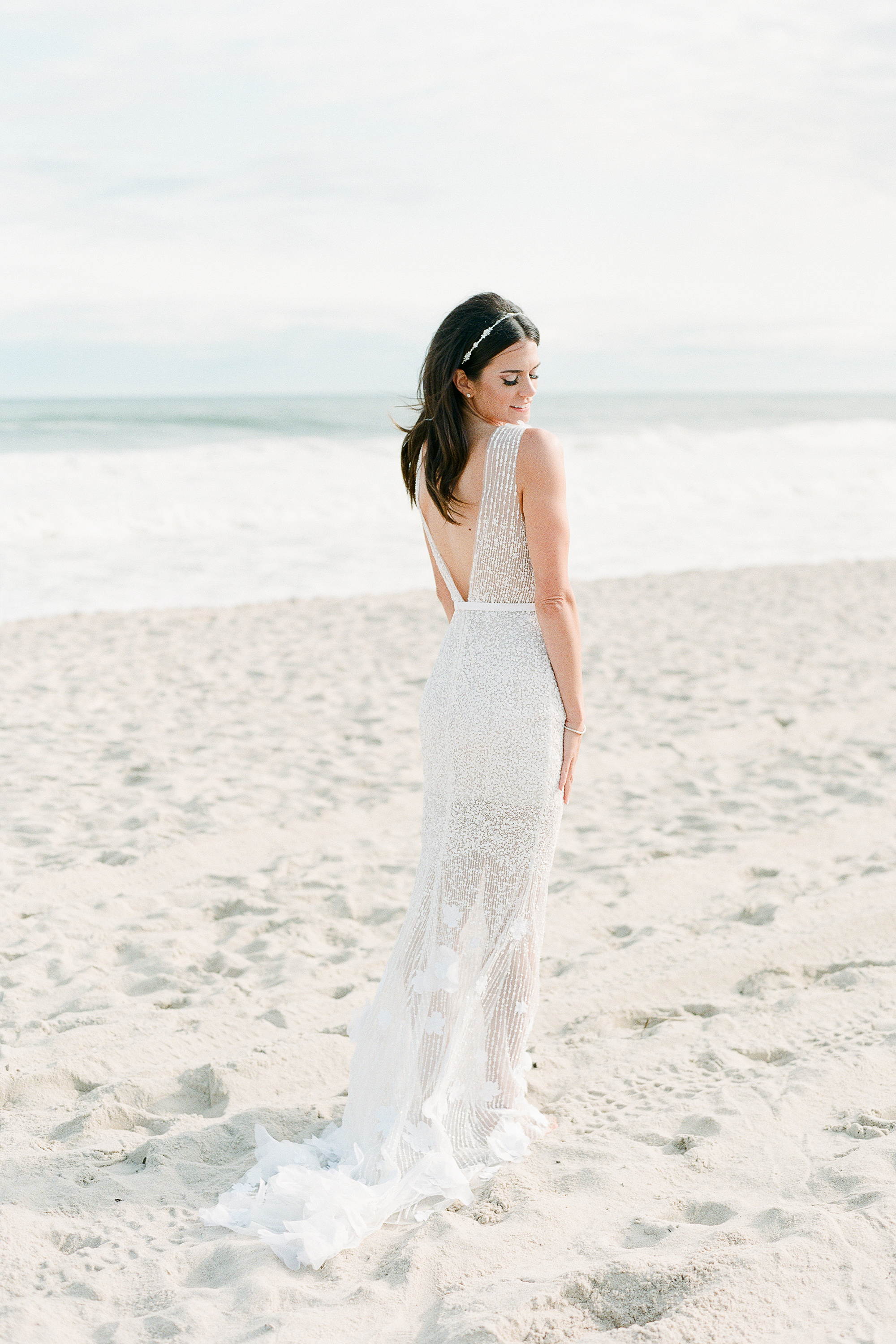 beach wedding dresses bride on white sand beach