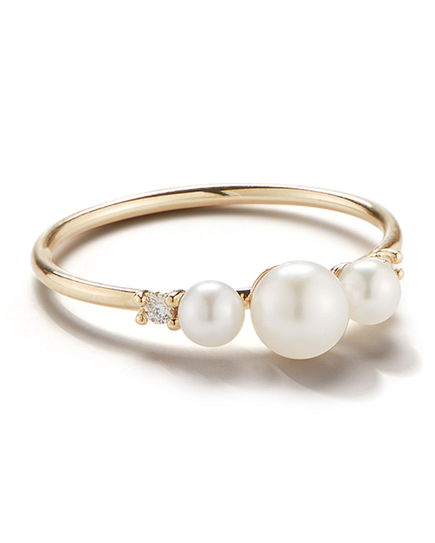 Mizuki 14-Karat Gold, Three-Pearl and Diamond Ring
