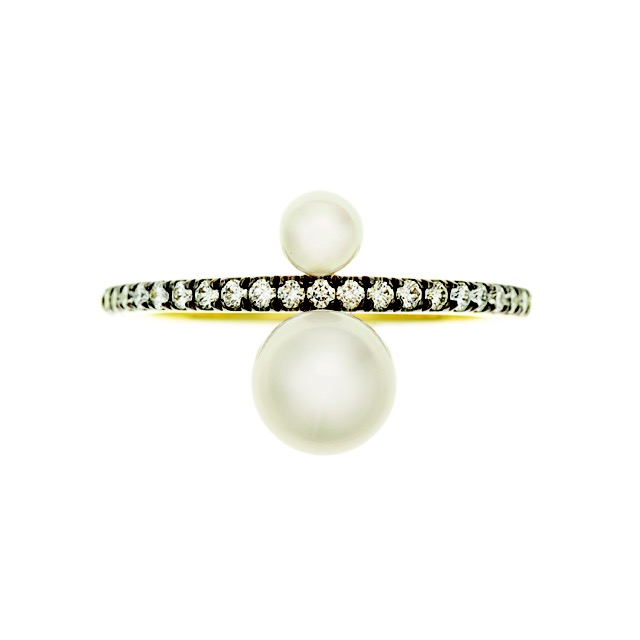 "Jemma Wynne ""Prive"" white pearl and diamond ring"