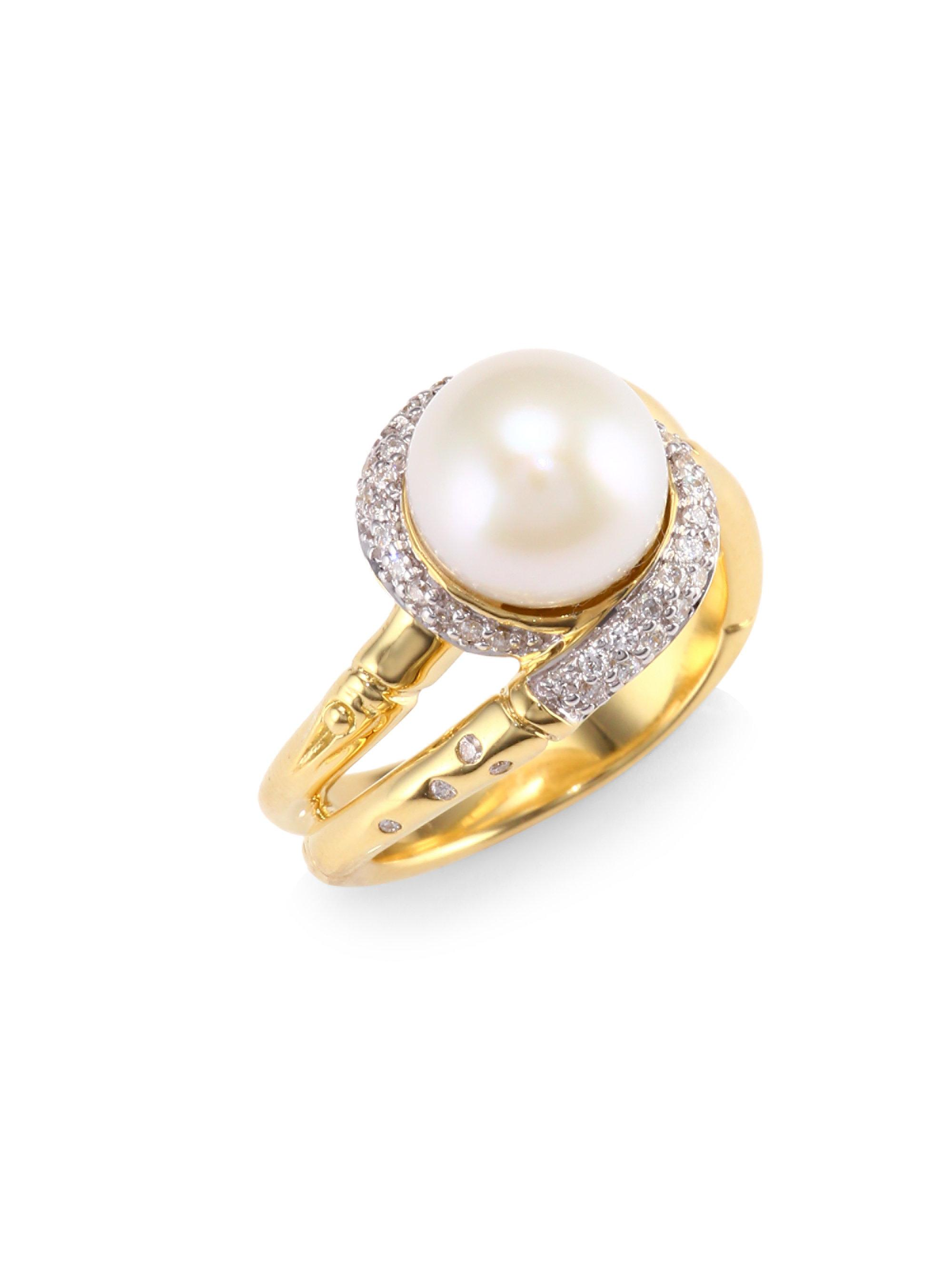 "John Hardy ""Bamboo"" Mother of Pearl, Sterling Silver, and 14-Karat Yellow Gold Ring"