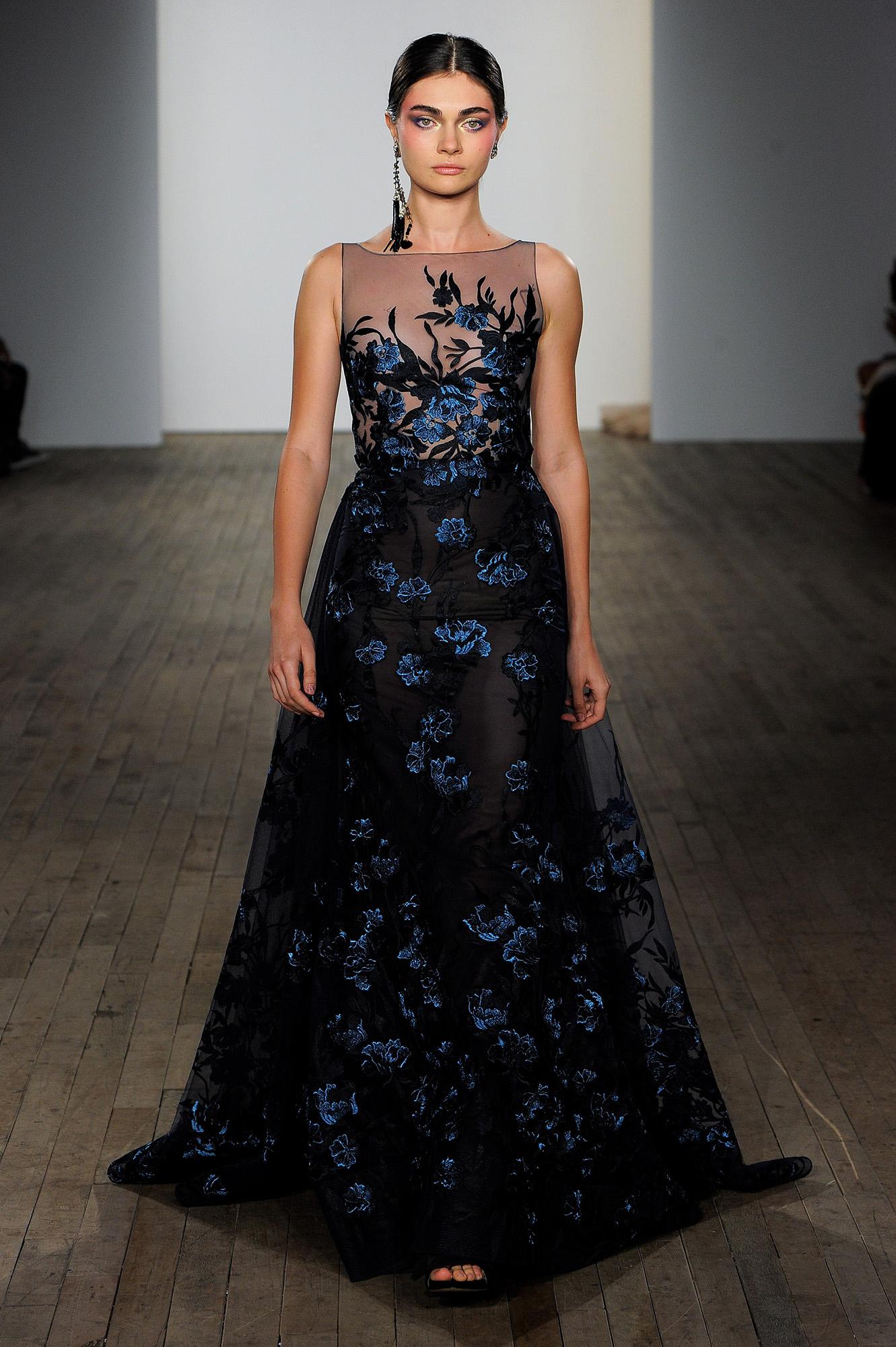 lazaro fall 2019 illusion high neckline floral applique black wedding dress