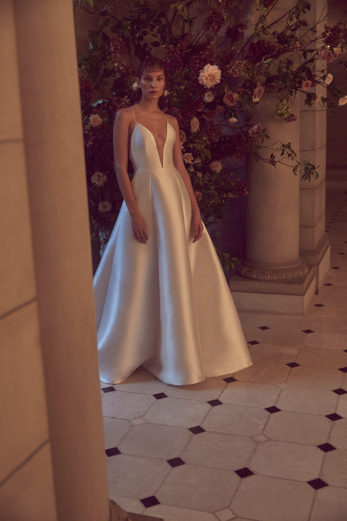 monique lhuillier bliss fall 2019 silk spaghetti strap deep v neck a-line gown