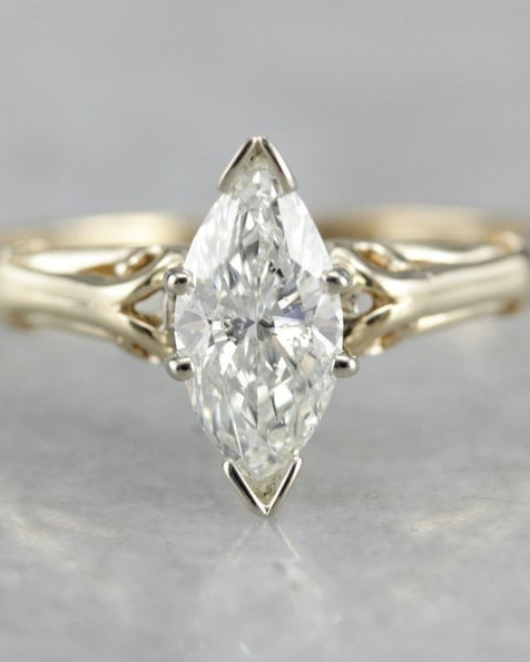 Marquise Diamond Solitaire Victorian Engagement Ring