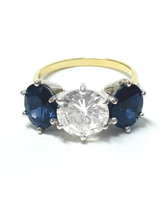 Yellow Gold Vintage Diamond Sapphire Ring
