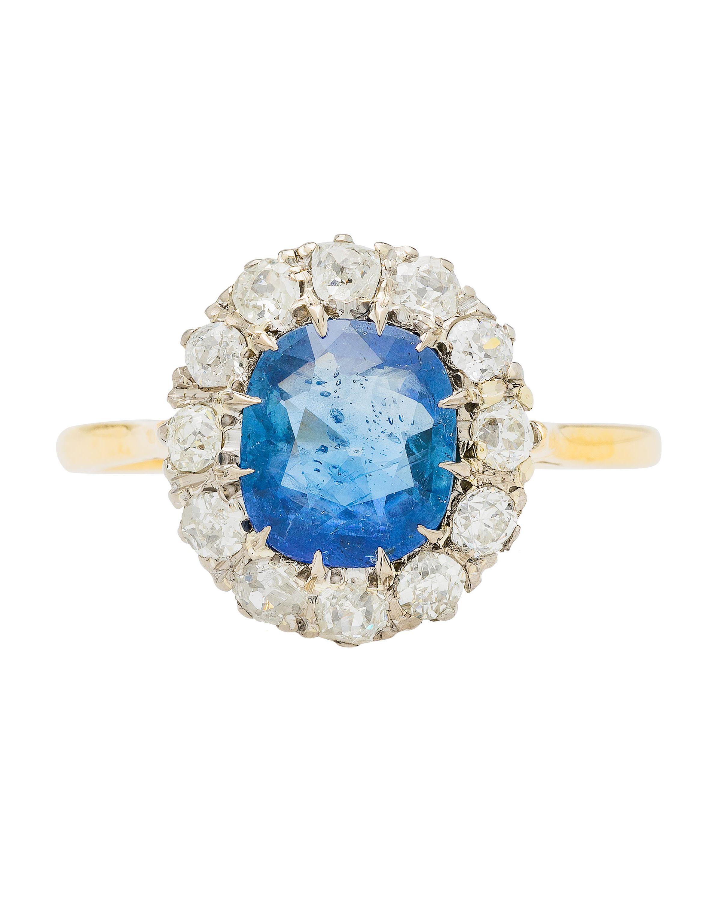 Victorian era yellow gold platinum sapphire center engagement ring
