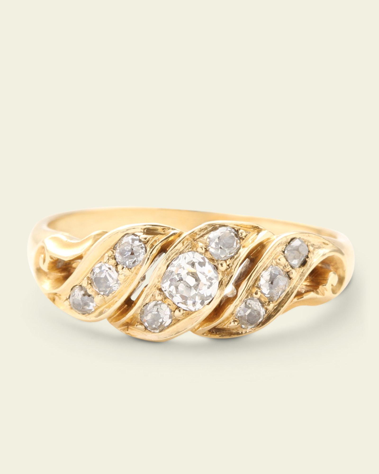 Victorian Old Mine Cut Diamond Ribbon Ring