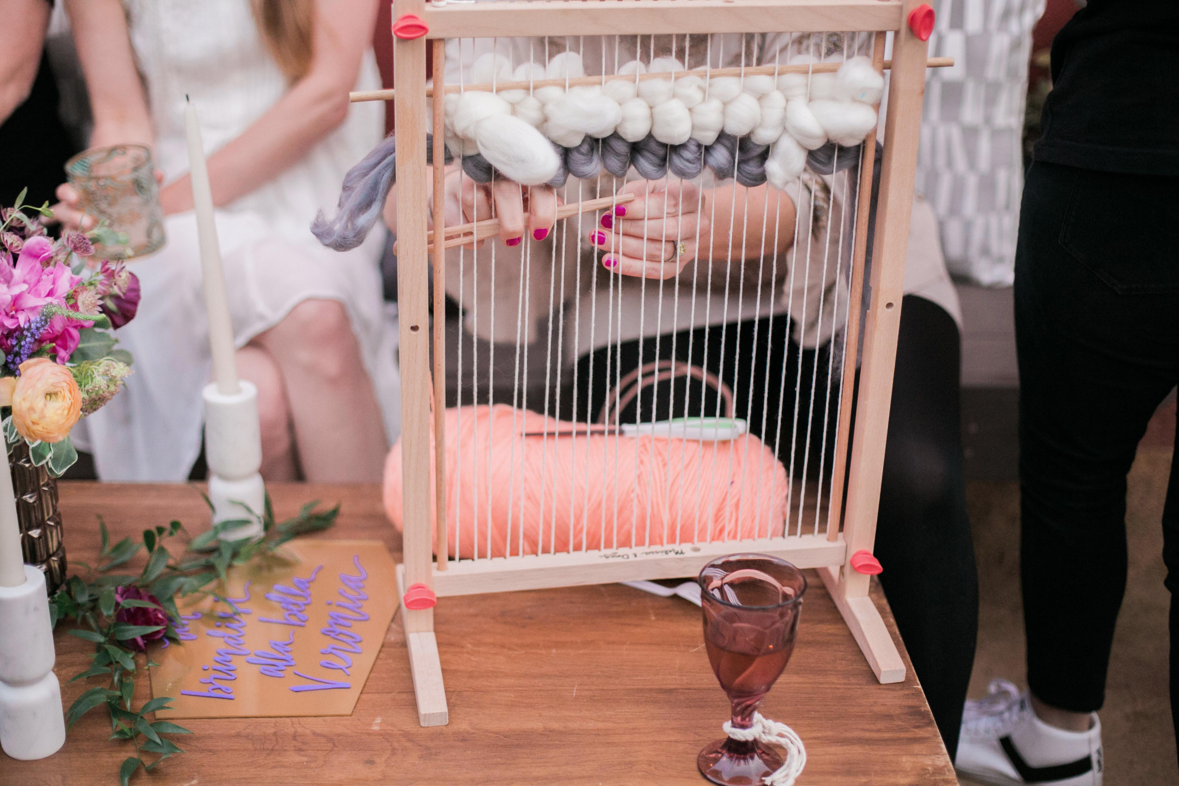 boho chic bachelorette party activity weaving