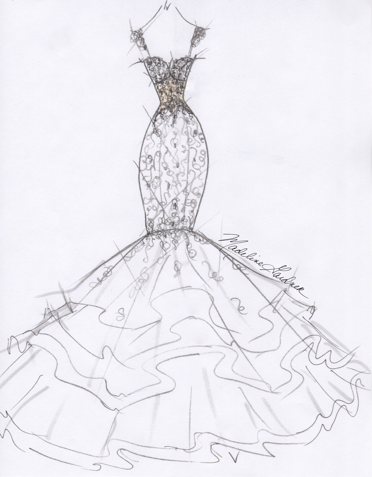 Morilee by Madeline Gardner Fall 2017 Exclusive Wedding Dress Sketch