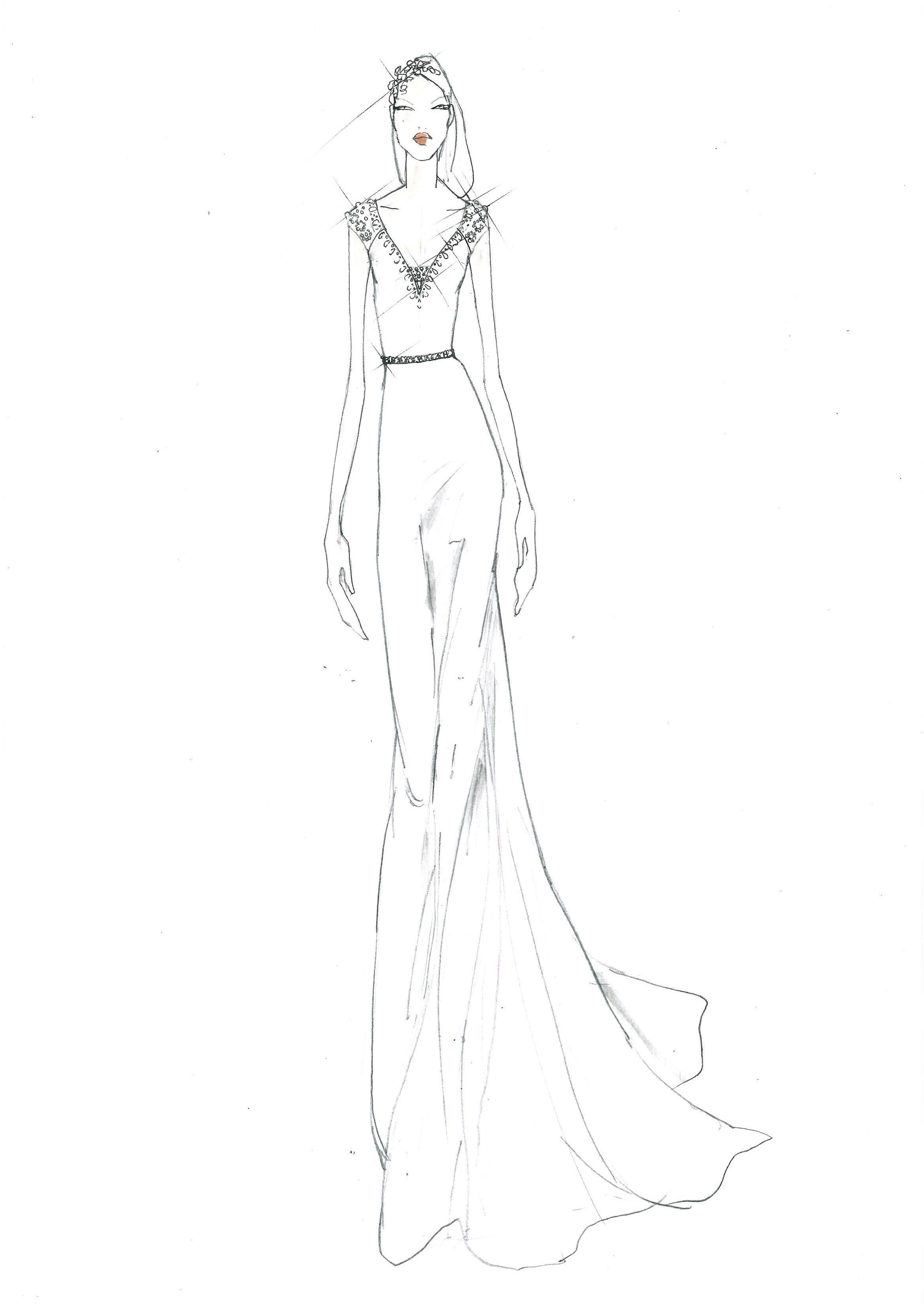 Jenny Packham Fall 2017 Exclusive Wedding Dress Sketch
