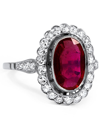 Ruby Engagement Ring with a Round Diamond Halo