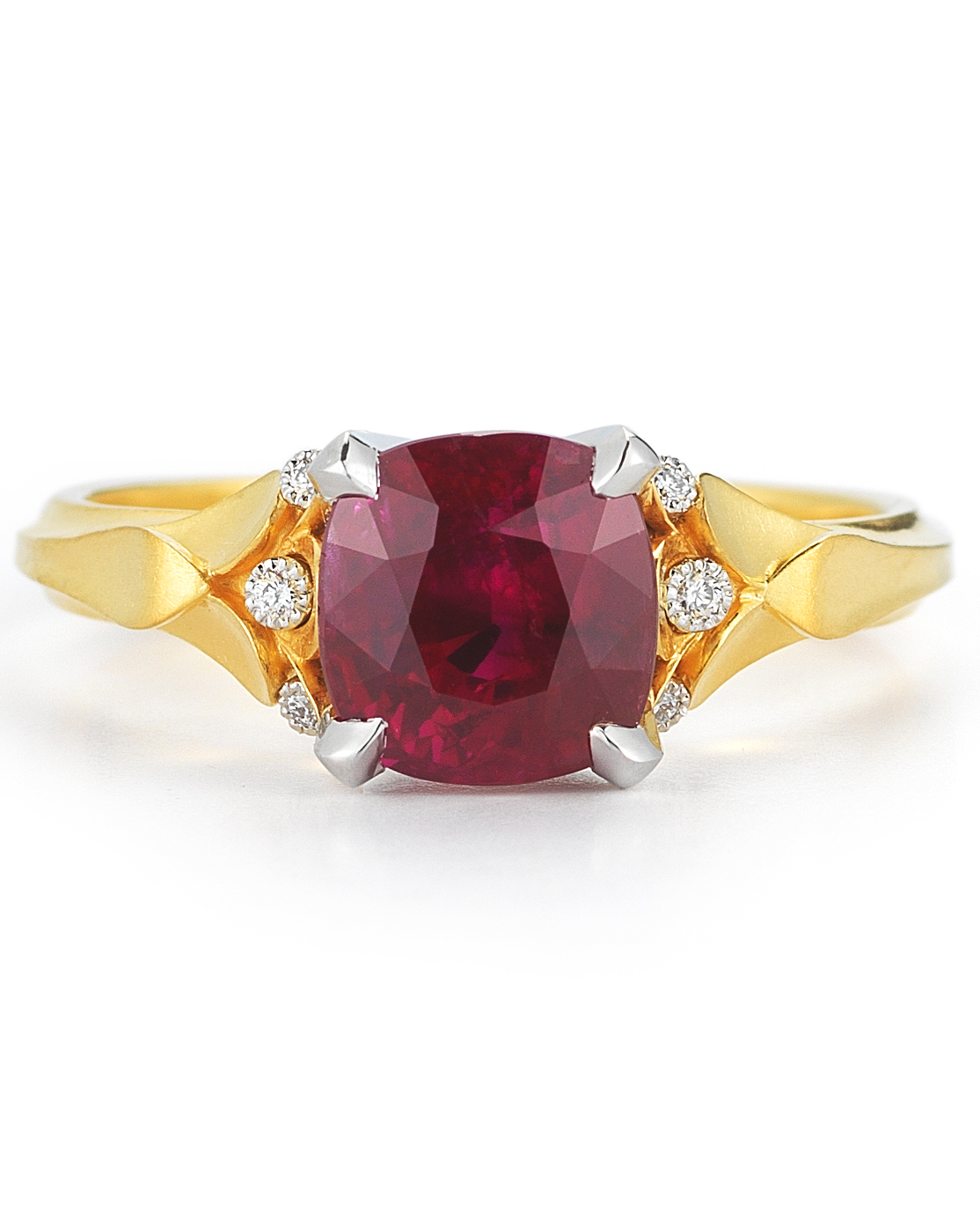 Ruby Classic Flora Engagement Ring with Diamonds
