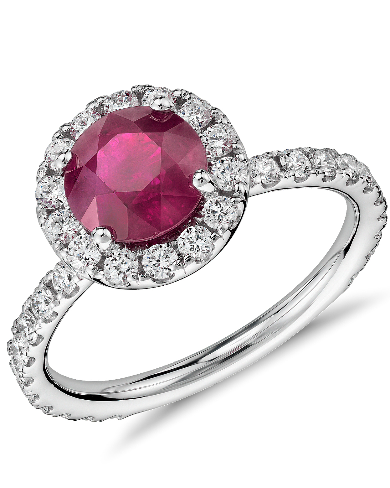 Ruby Engagement Ring with Diamond Pavé Halo