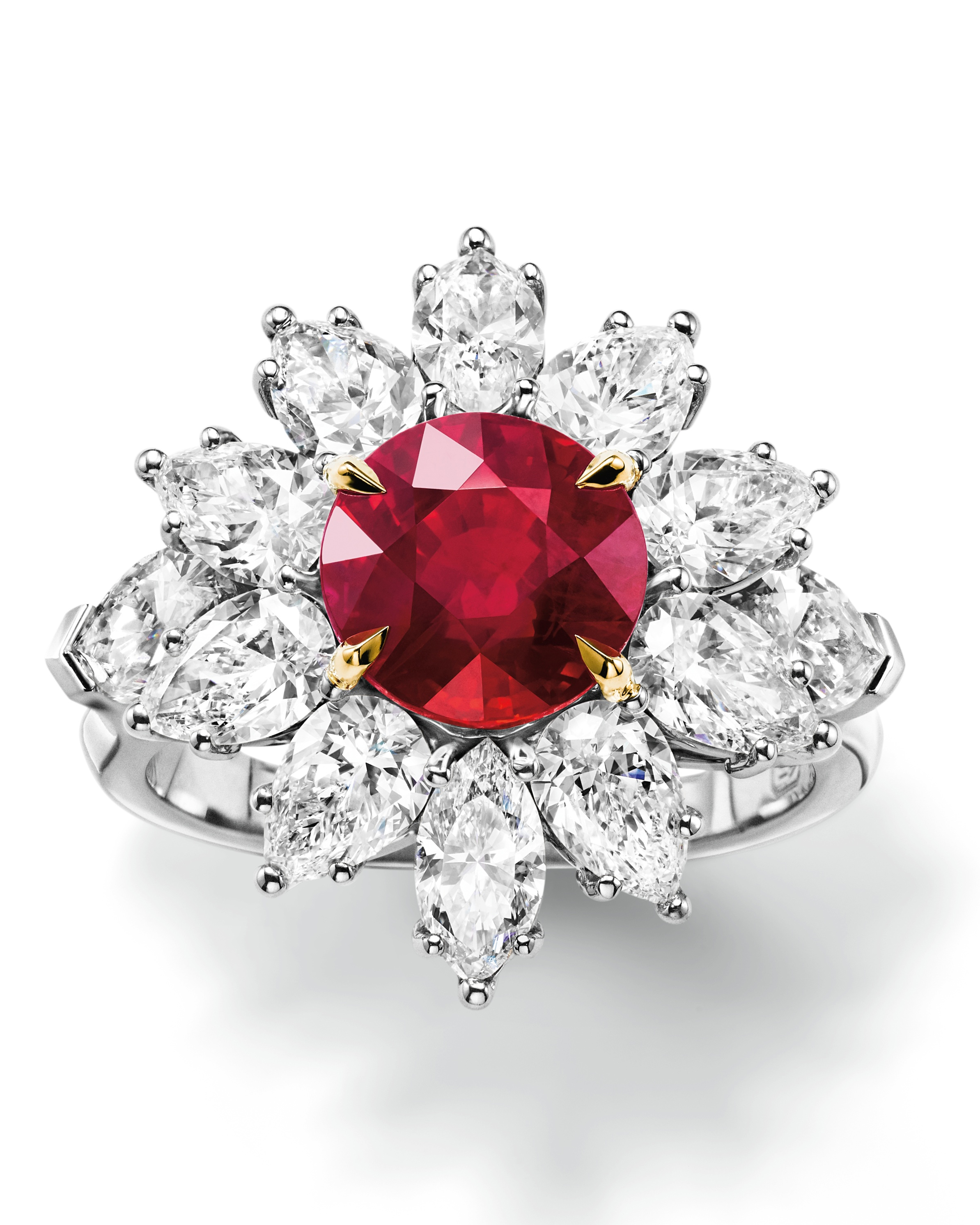 Ruby Engagement Ring with Flower Diamond Halo