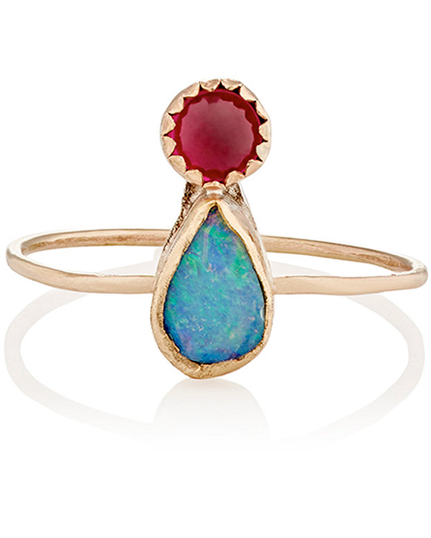 Opal & Ruby Engagement Ring