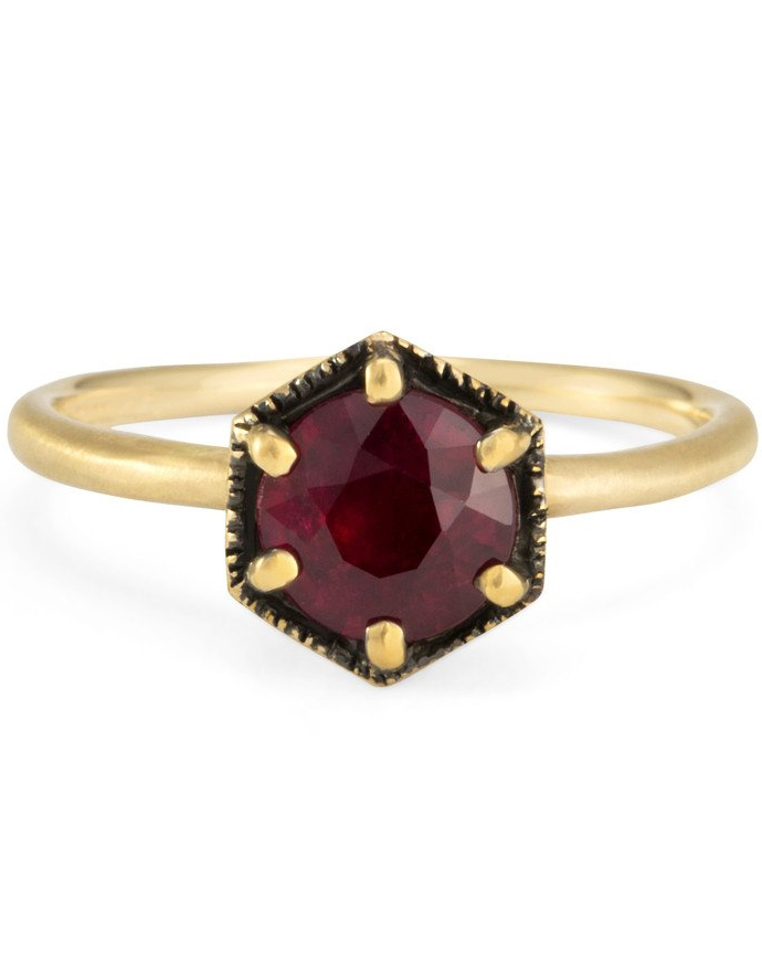 Hexagonal Ruby Engagement Ring