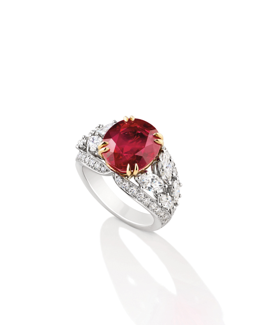 Ruby Engagement Ring with Marquise-Cut Side Stones