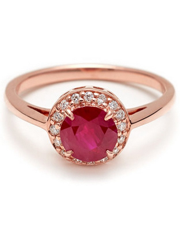 Round Rosette Ruby Engagement Ring
