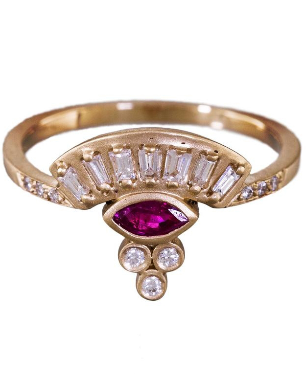 Diamond and Ruby Fan Engagement Ring