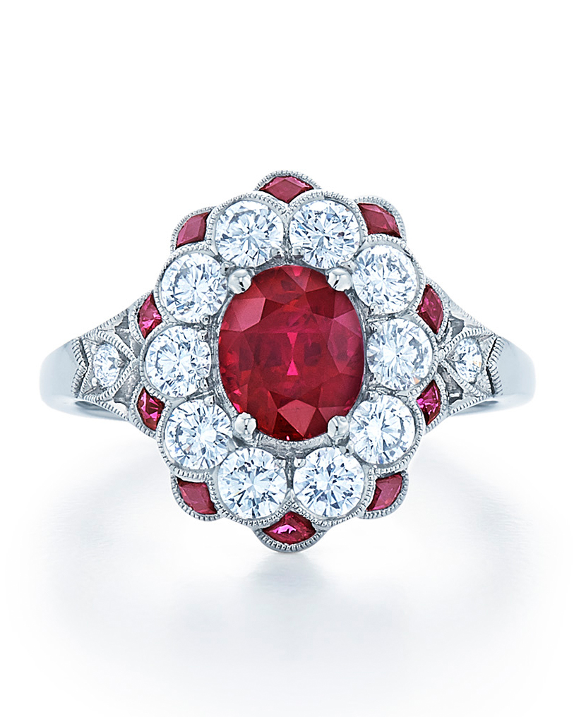 Vintage Ruby Engagement Ring with Diamond Halo