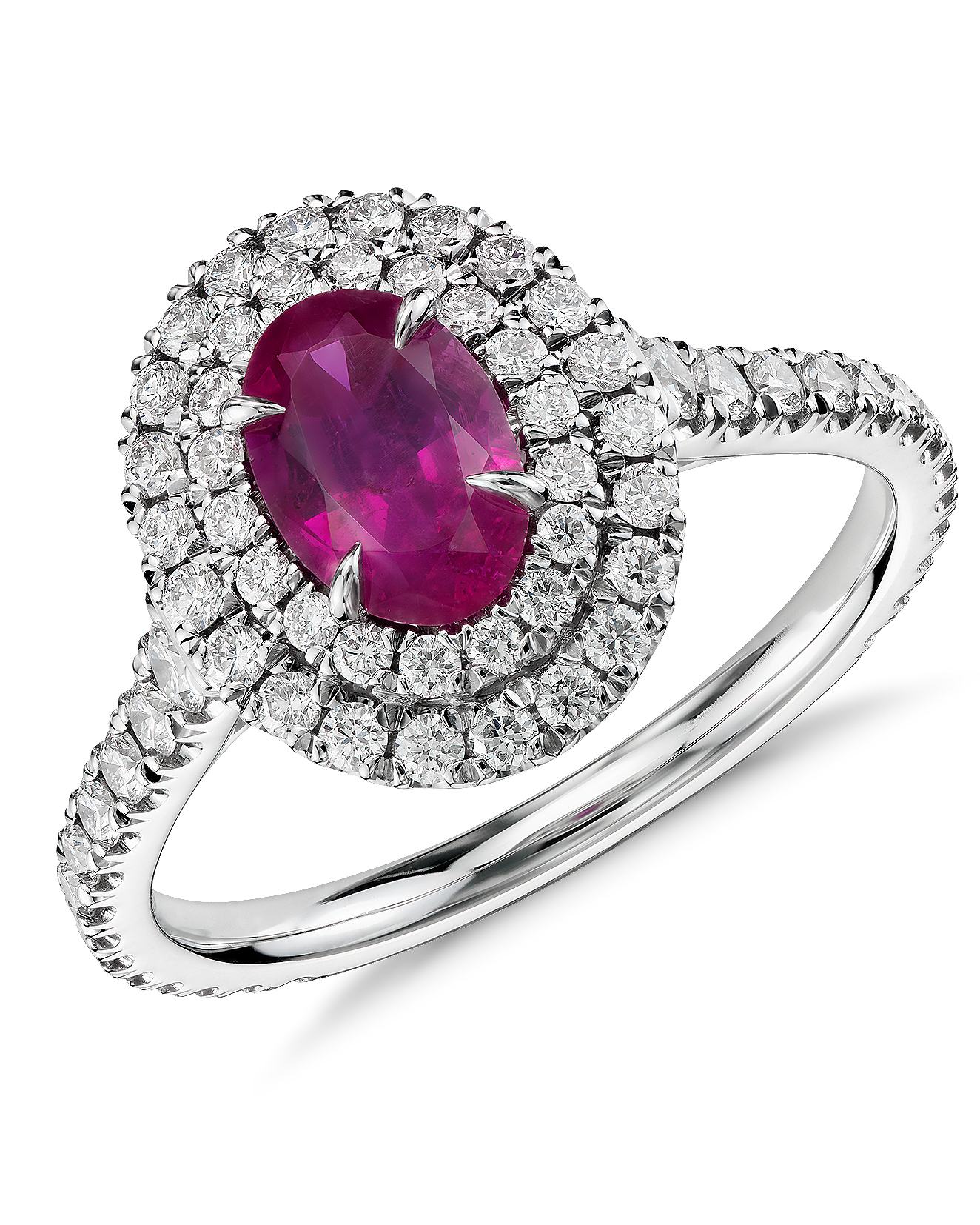 Double Diamond Halo Ruby Engagement Ring