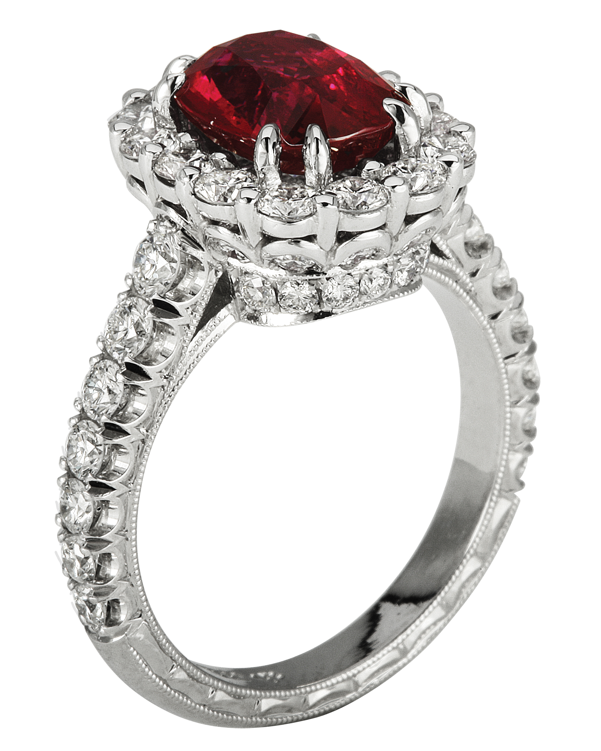 Ruby Engagement Ring with Halo on Platinum Setting