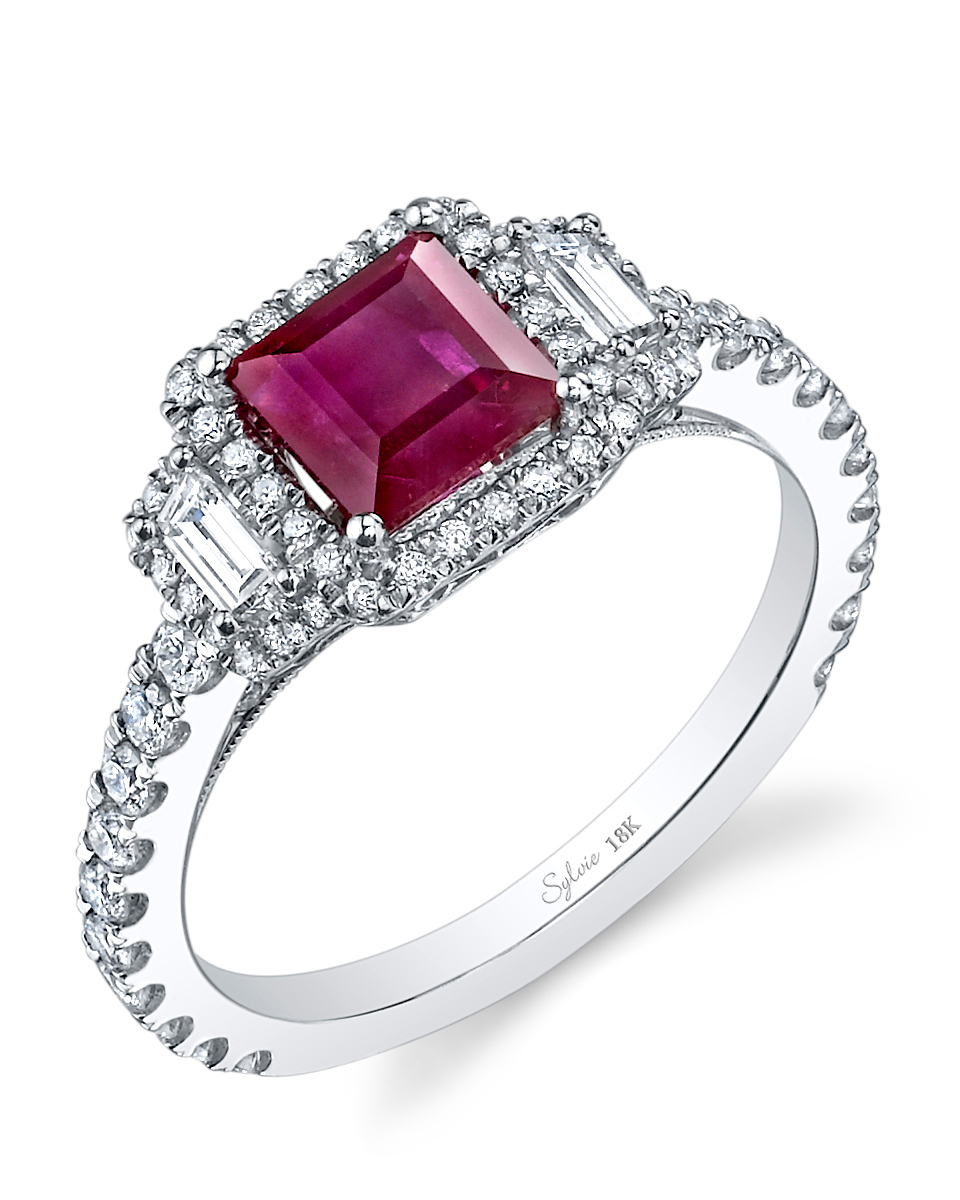 Princess-Cut Ruby Engagement Ring