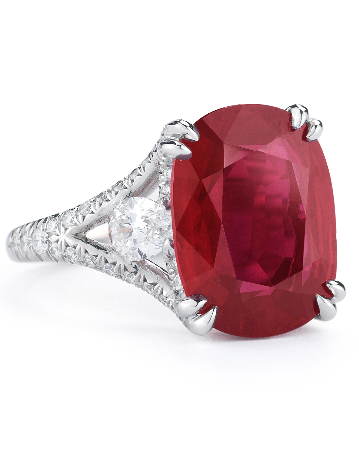 Ruby & Diamond Lotus Engagement Ring