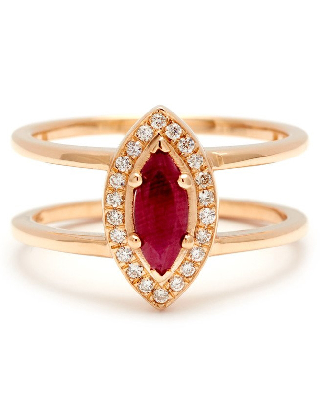 Double-Banded Marquise-Cut Ruby Engagement Ring