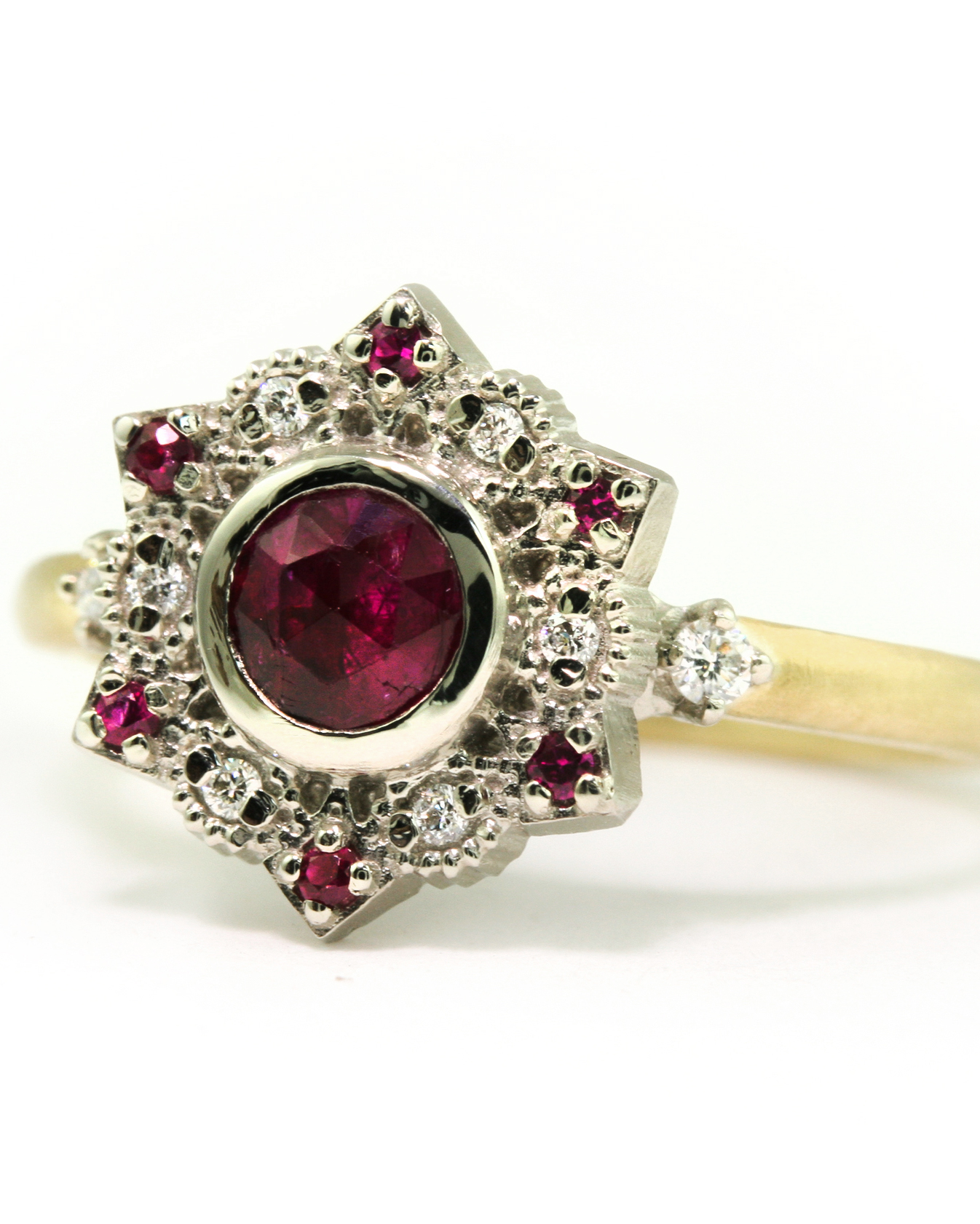 Rose-Cut Ruby & Diamond Engagement Ring