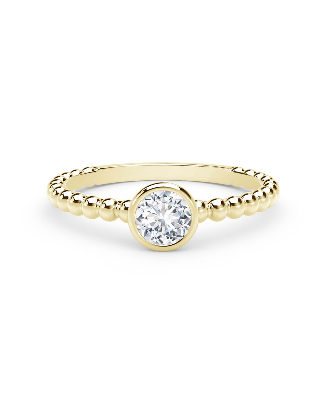 18-Karat Yellow Gold Beaded Shank Round Diamond Ring