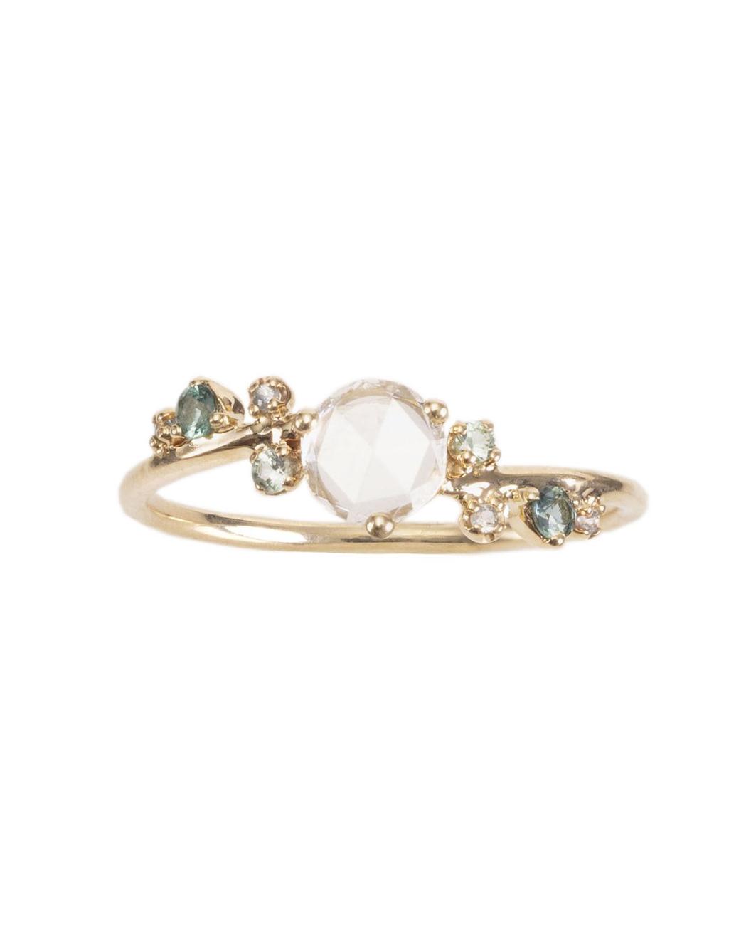 Limited Edition Medium Rose-Cut Diamond Tourmaline Organic Crossover Ring