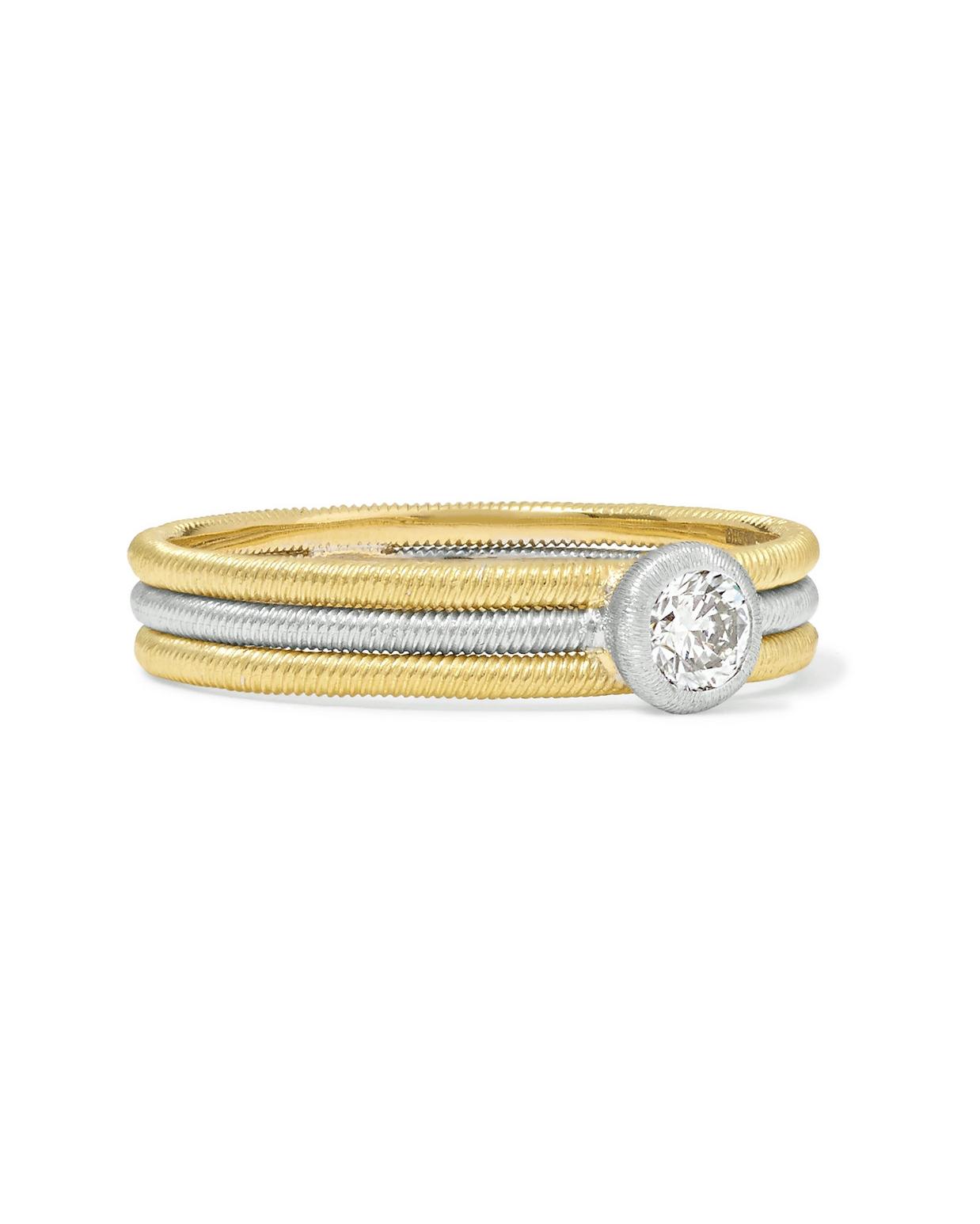18-Karat Yellow and White Gold Diamond Ring