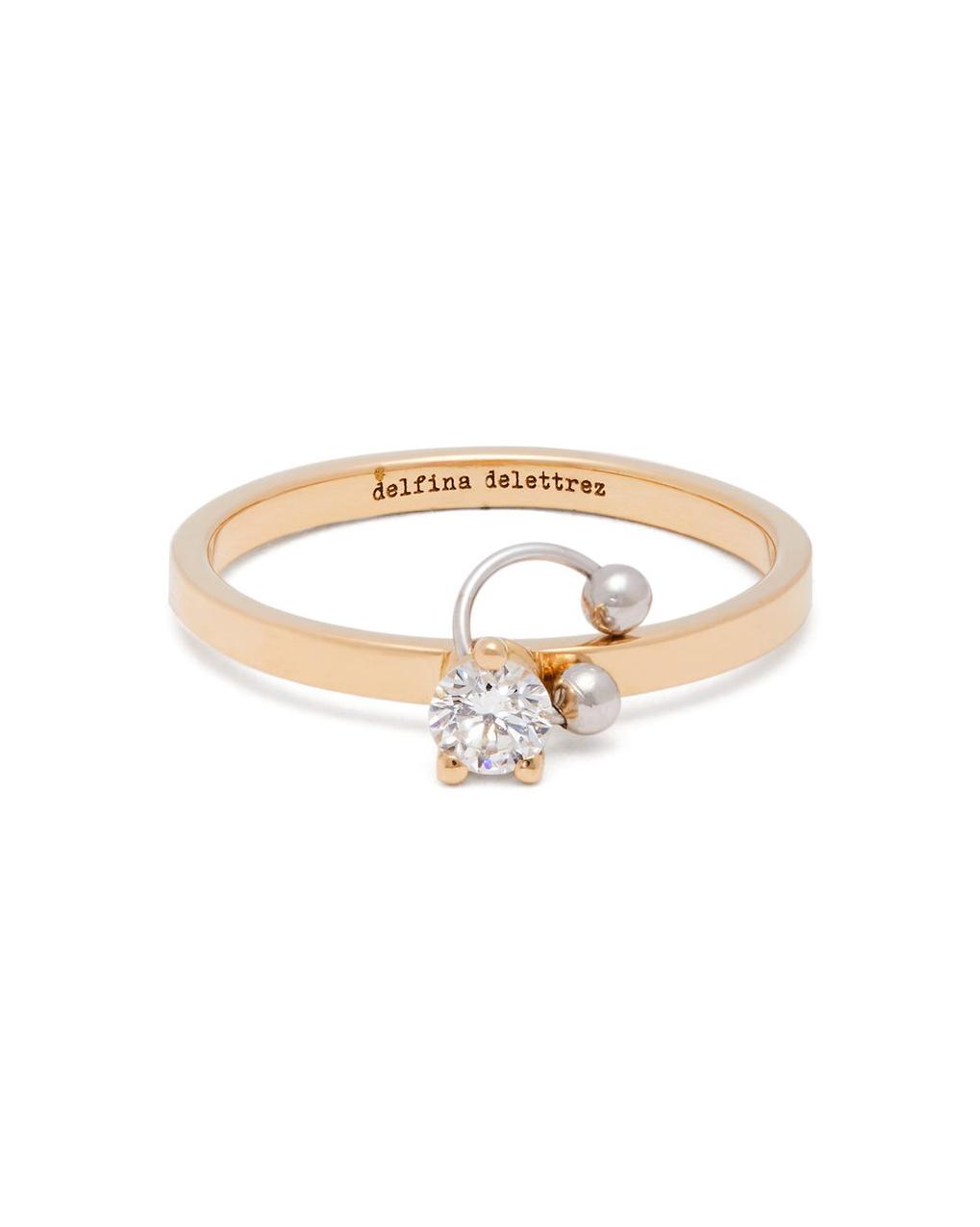 Pierced 18-Karat Gold and Diamond Ring