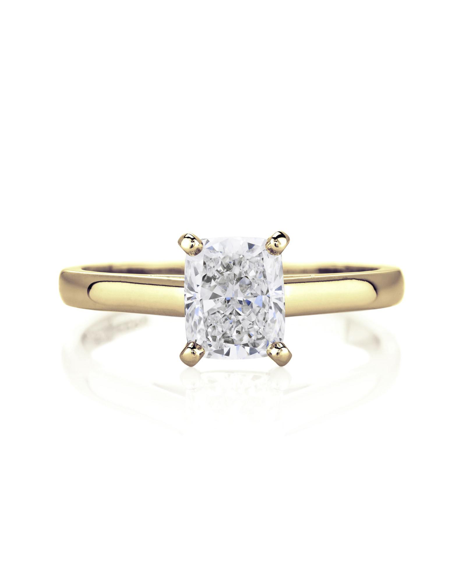 Yellow Gold Cushion Cut Diamond Ring