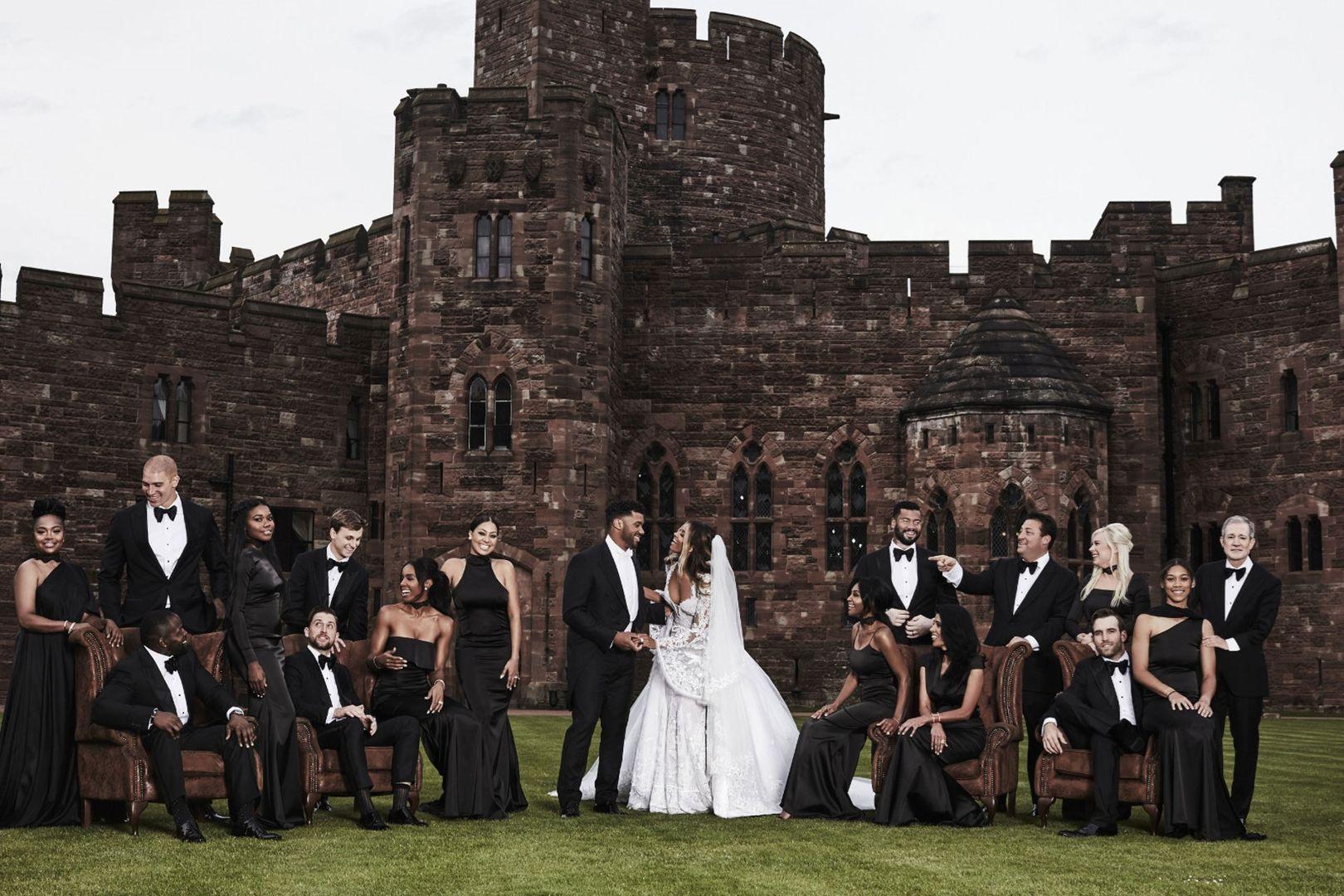 Ciara and Russell Wilson's wedding party, including bridesmaids Kelly Rowland and Lala Anthony