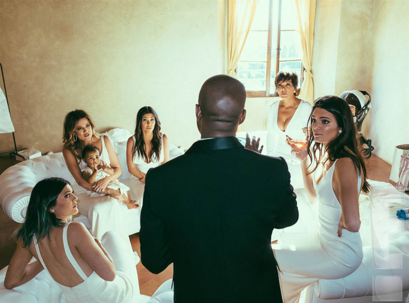 The Kardashian sisters (Kylie, Khloe, Kourtney, and Kendall) and Kris Jenner and North West at Kanye West and Kim Kardashian's wedding