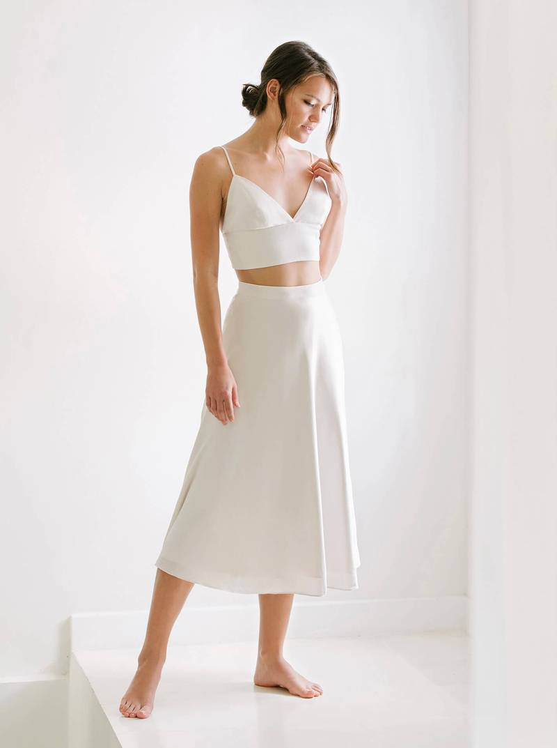 bride gift guide maggie wu white silk separates