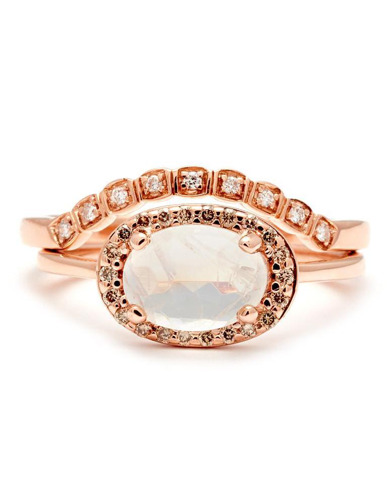 rainbow moonstone champagne diamond rose gold ring
